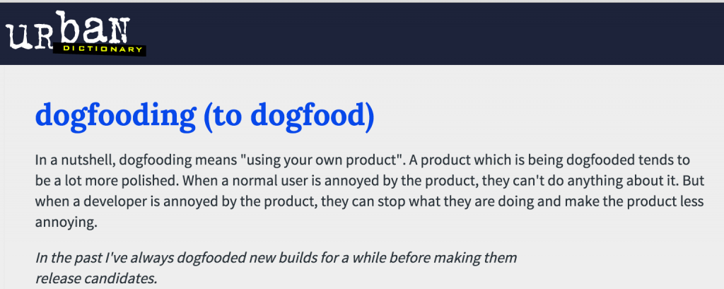 dogfood definition